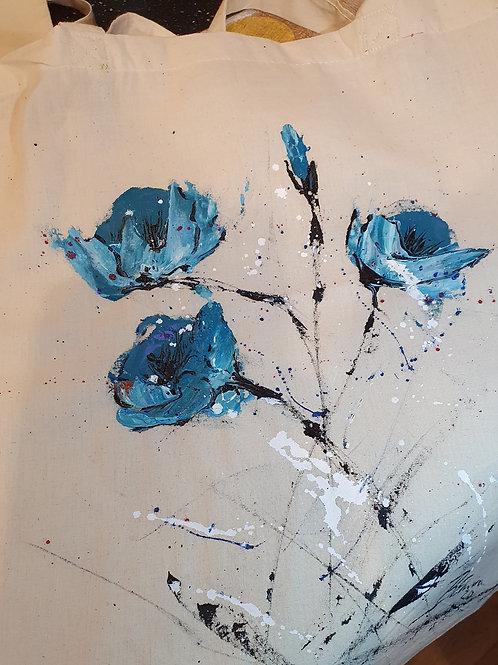 Blue flowers - tote bag