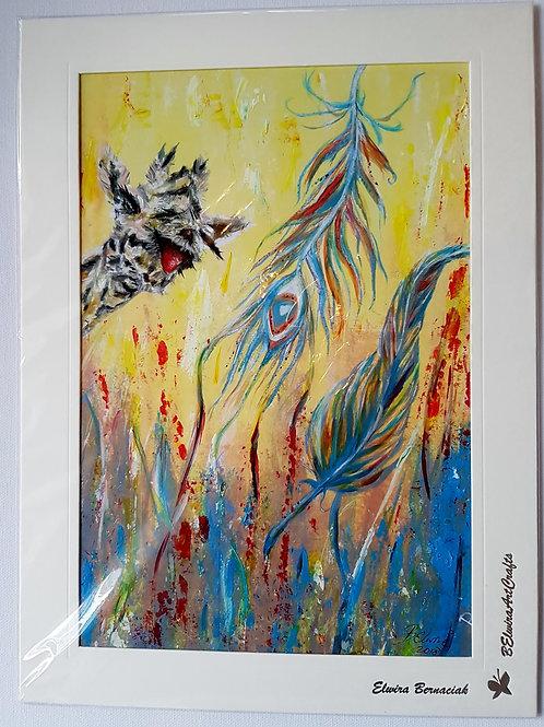 Giraffe -A4 print on paper+hand paint