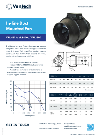 VRIL In-line Duct Mounted Fan Brochure Download   Ventech