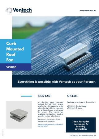 VCM190 CurbMounted ExteriorFan Brochure Download   Ventech