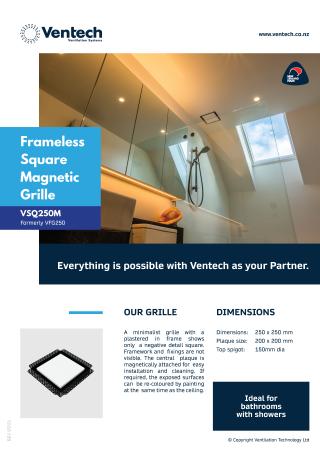 Frameless Square Magnetic Grille - VSQM250 Brochure Download