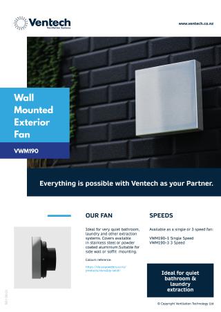 VWM190 WallMounted ExteriorFan Brochure Download   Ventech