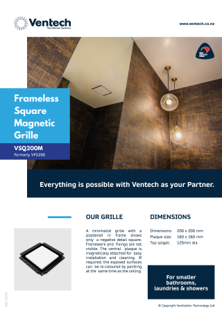 Frameless Square Magnetic Grille - VSQM200 Brochure Download