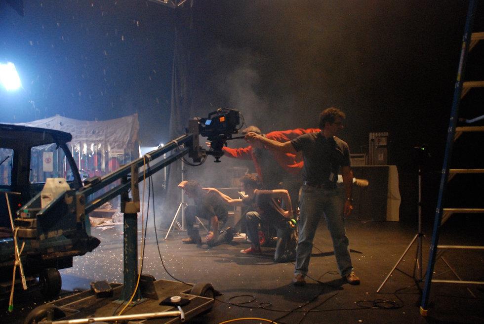Leonard Meenach on stage filming