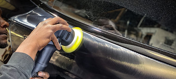 Aesthetic Detail Studio performing paint correction with dual action polisher