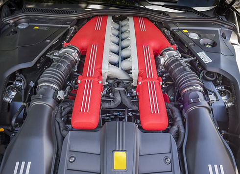 Clean exotic car engine bay