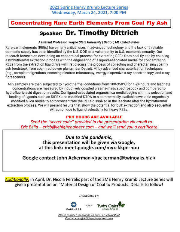 2021 Henry Krumb Lecture - Tim Dittrich.