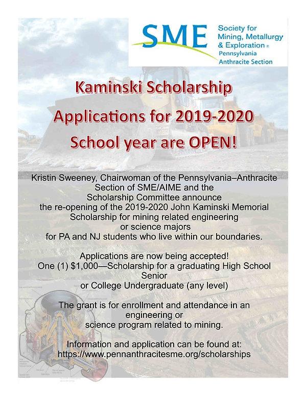 2019-20 SME Scholarship Re-open Announce
