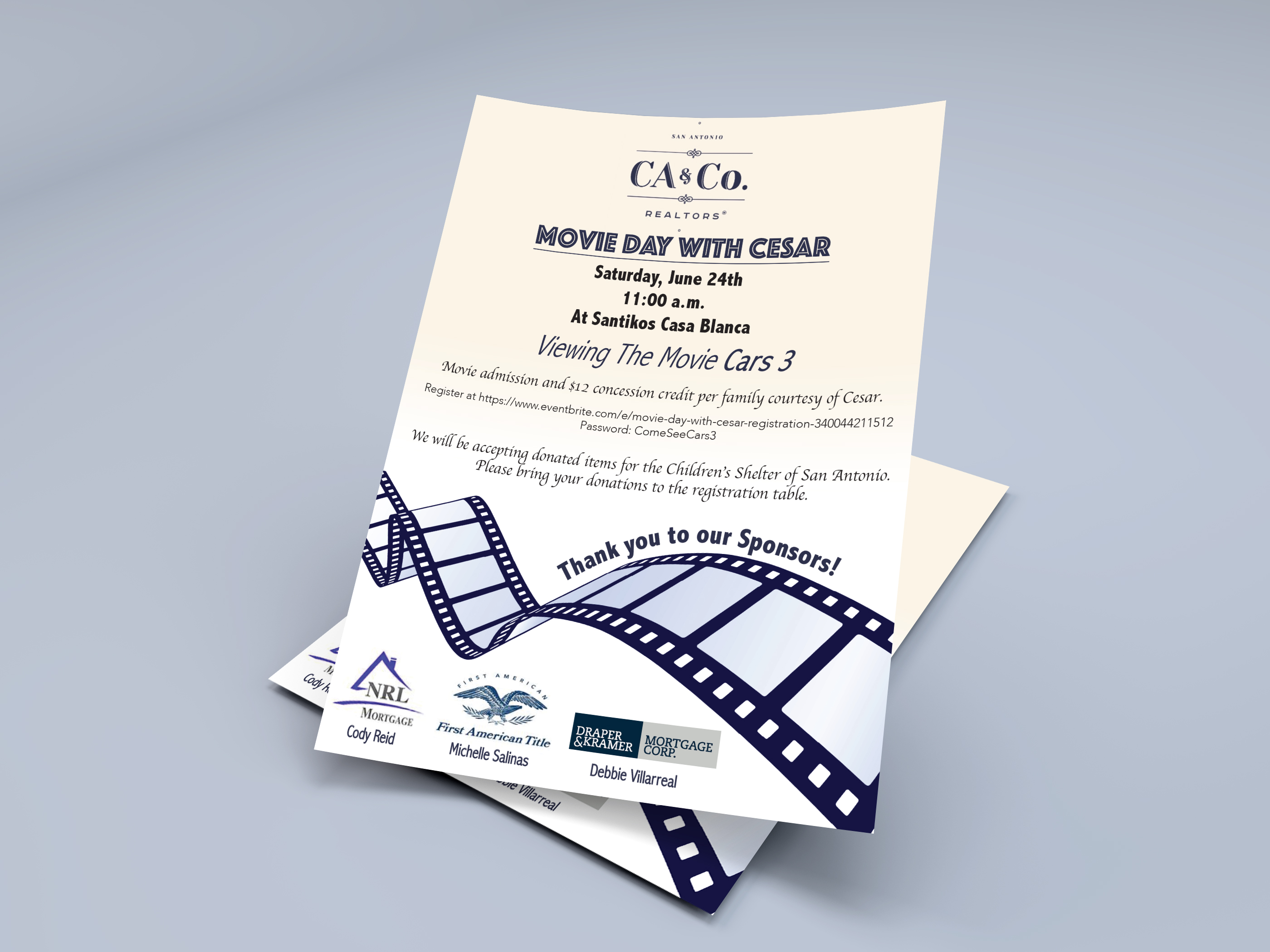 CA&Co. Movie Night Event Flyer