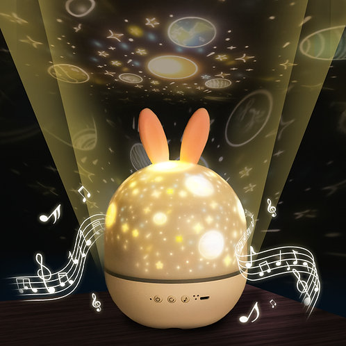Night Lighting Lamp Projector 360 Degree Rotation - Cute Rabbit Music