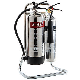 Double Fire Extinguisher Chrome Tubular Stand