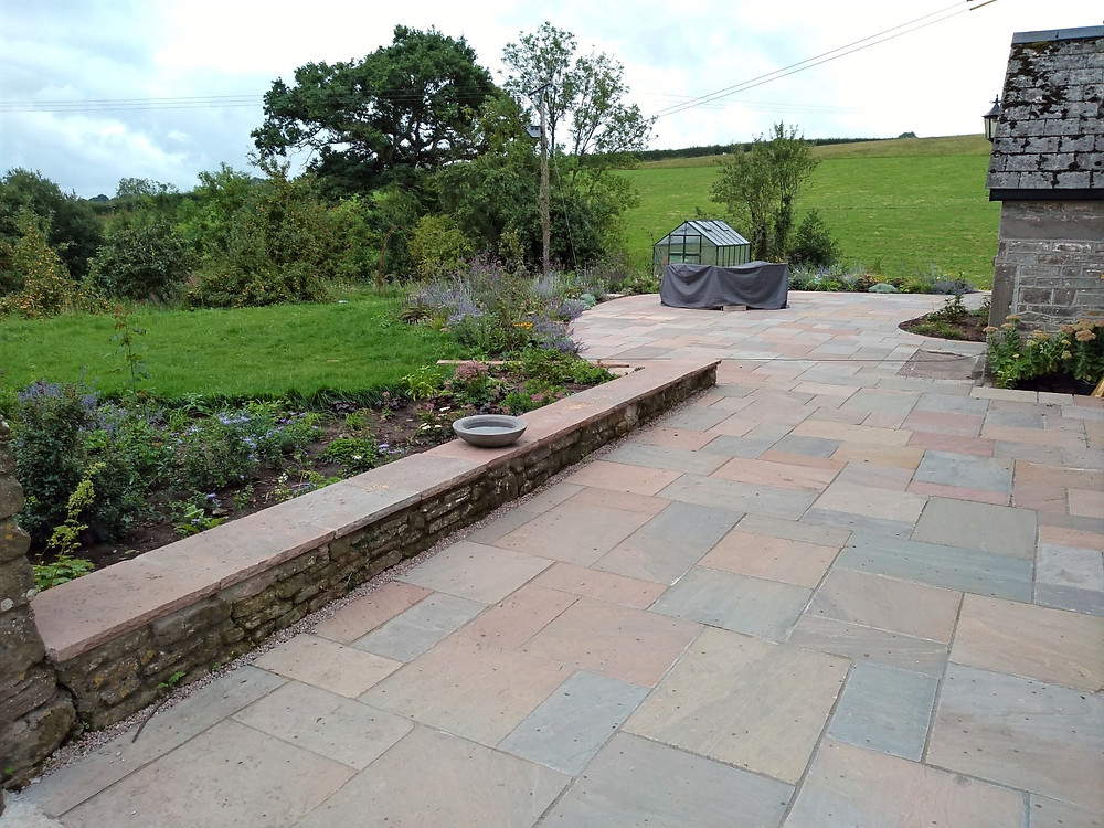Walling, traditional walling, coping stones, patio, paving, planting beds