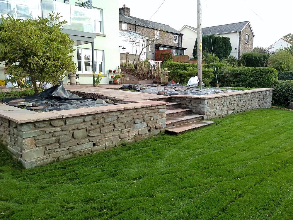 stone walling, steps, patio, paving