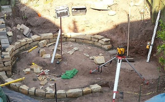 garden design sandstone walling- High quality landscape garden design and landscape gardeners covering, Abergavenny, Crickhowell, Monmouth, Monmouthshire, Brecon, Herefordshire and Cardiff