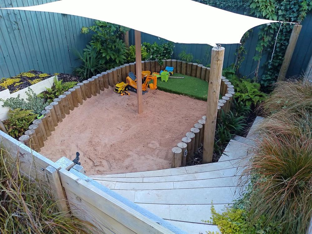 kids, children's garden, sand pit, covers, limestone steps