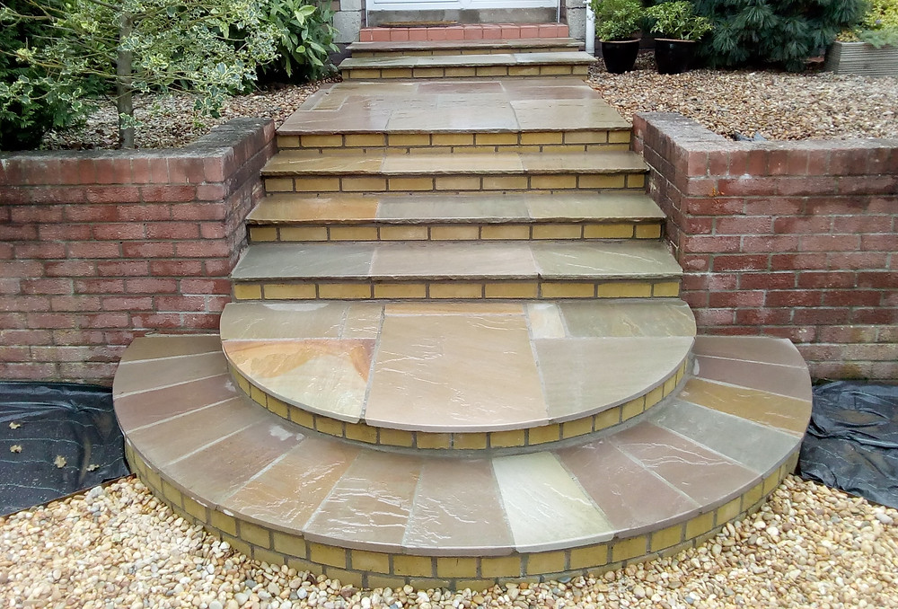curved steps, indian sandstone, gravel beds, easy access