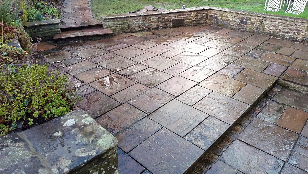 reclaimed paving, cobbles, natural walling, copings