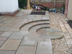 Curved paving steps