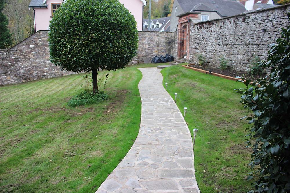 After - finished crazy paving with local quarried limestone
