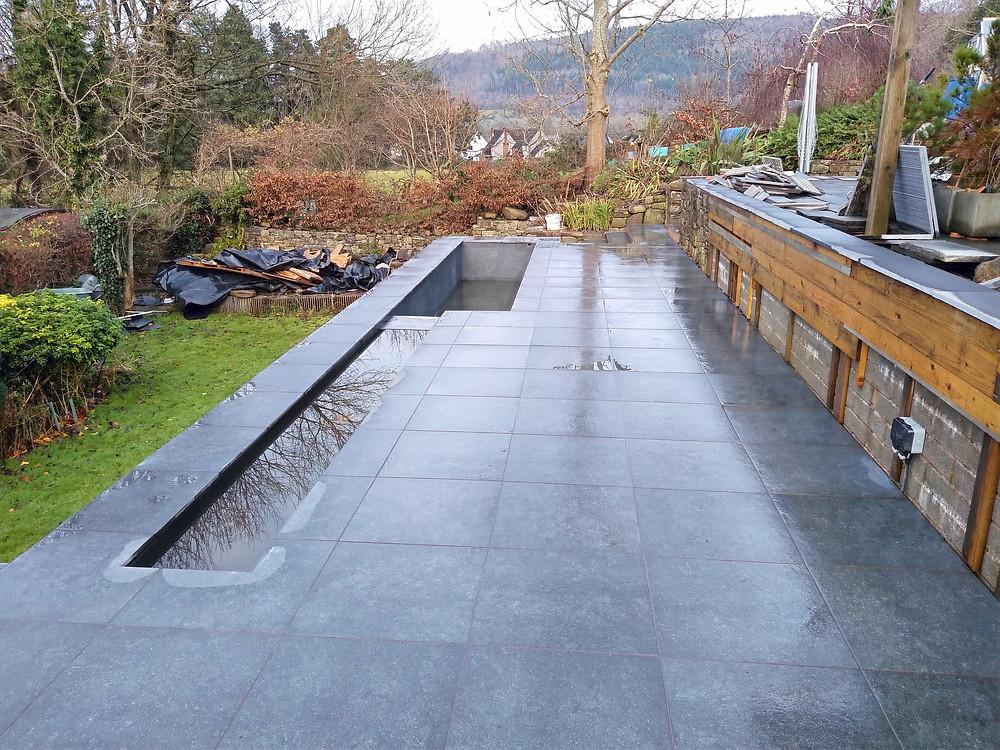 paving, slabbing, rills, water features, pond, swimming pool, plunge pool