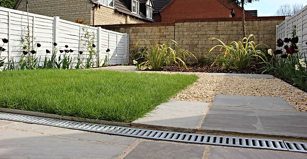 Modern garden metal surrounds grass and planting beds and path - High quality landscape garden design and landscape gardeners covering, Abergavenny, Crickhowell, Monmouth, Monmouthshire, Brecon, Herefordshire and Cardiff