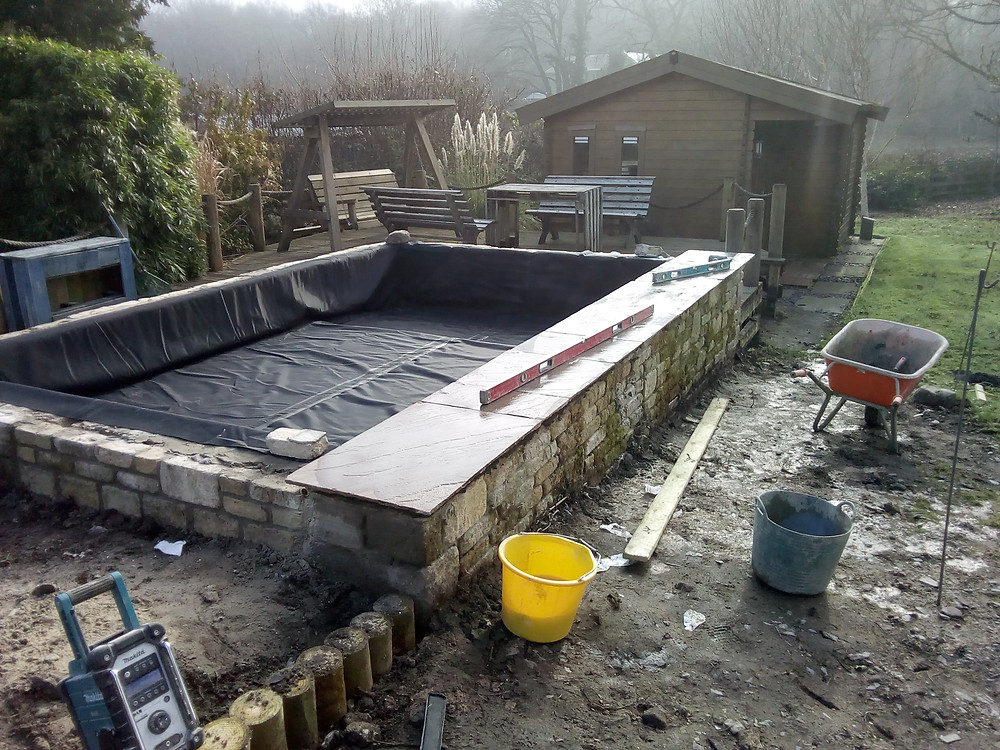 pond liner, coping stones, walling, wildlife pond