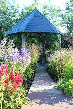 Oak gazebo and flower garden