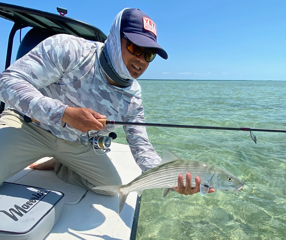 Bonefish on Homemade Rod and Homemade Jig