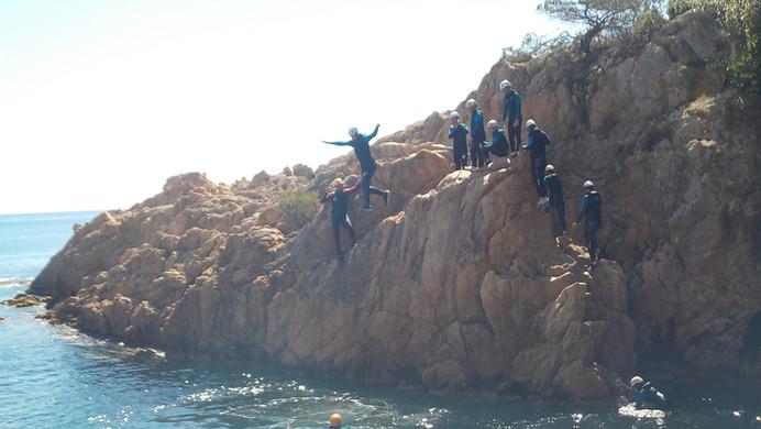 Now jumping - coasteering Costa Brava