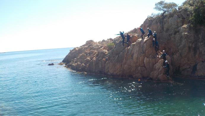 About to jump - coasteering Costa Brava