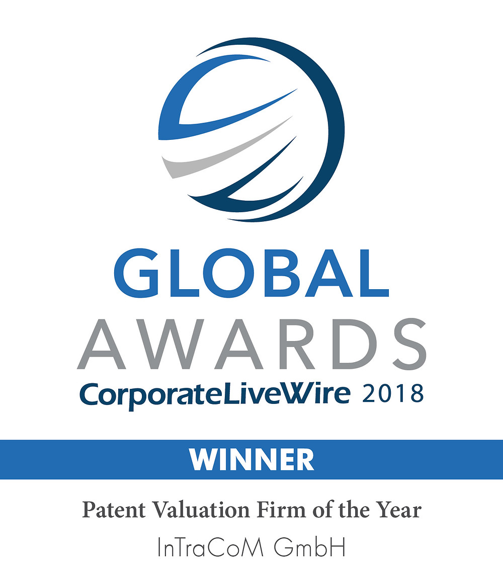 Global Awards CorporateLiveWire Patent Valuation Firm of the Year 2018 InTraCoM GmbH