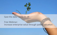 NEW FREE WEBINAR: Financing wanted? Increase enterprise value through patent valuation.