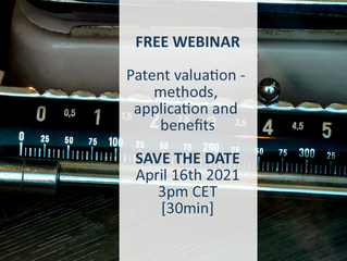 FREE WEBINAR: Patent valuation - methods, application and benefits