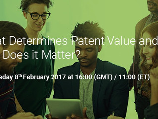 Webinar - February 8th, 2017: Patent valuation methodologies for companies and entrepreneurs