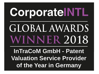"InTraCoM gewinnt erneut Award 2018 ""Patent valuation service provider of the year in Germany"""