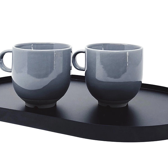 Two Broste cups w/handle, soft blue/grey