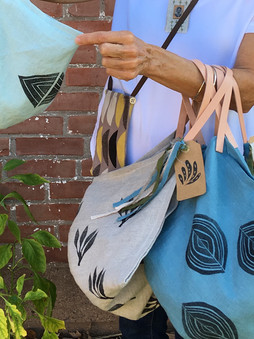 hand printed 4 corner bags with leather handles