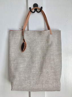 organic linen tote with leather handles