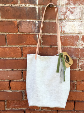 organic linen tote with leather straps