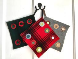 """woolen """"penny rug"""" pot holders"""