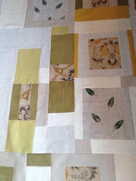 leaf printed patchwork quilt