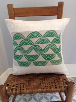 hand printed linen pillow