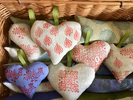 organic lavender and flax heart sachets