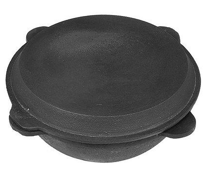 Казан чугунный с чугунной крышкой-сковородой 8 литров плоское дно