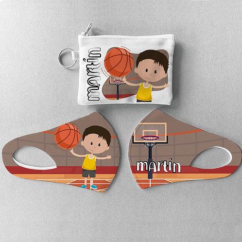Mascarilla + Estuche Basket