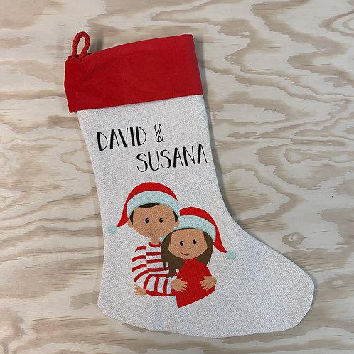 Calcetín lino navidad parejas
