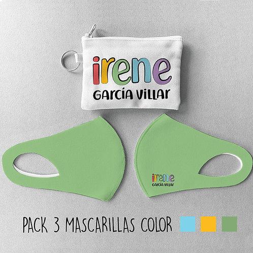 Pack cole 3 Mascarillas + 1 Estuche Lisas color I