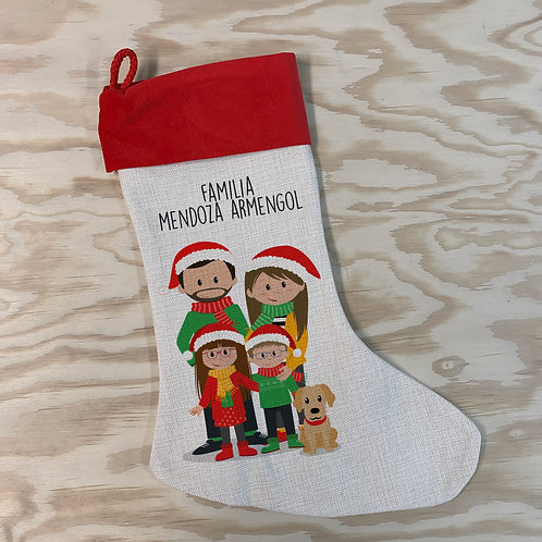 Calcetín lino navidad familia