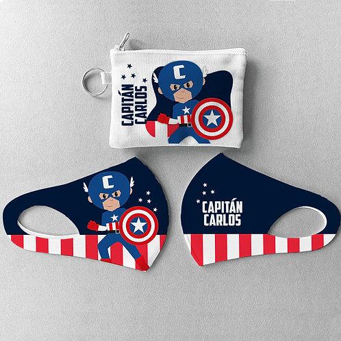 Mascarilla + Estuche Capitán America