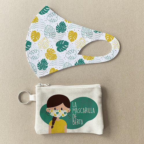 Mascarilla + Estuche Hojas verdes